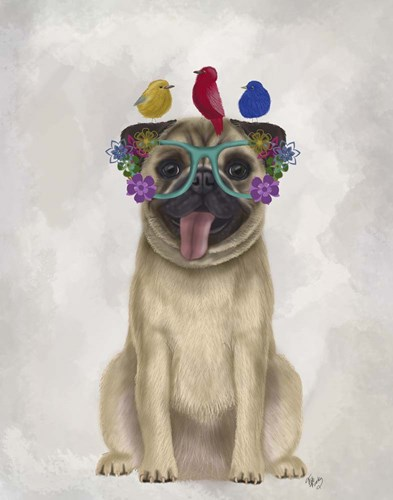 Pug and Flower Glasses Poster by Fab Funky for $33.75 CAD