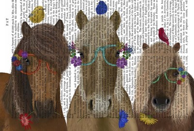 Horse Trio with Flower Glasses Poster by Fab Funky for $36.25 CAD