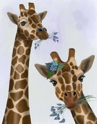 Chewing Giraffe Duo Poster by Fab Funky for $33.75 CAD