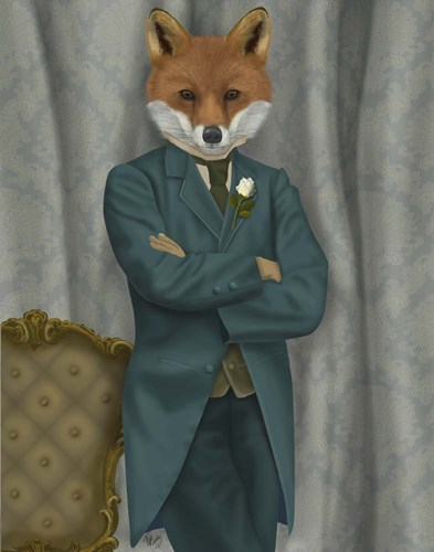 Fox Victorian Gentleman Portrait Poster by Fab Funky for $33.75 CAD