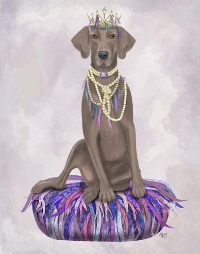 Weimaraner on Purple Cushion Poster by Fab Funky for $33.75 CAD