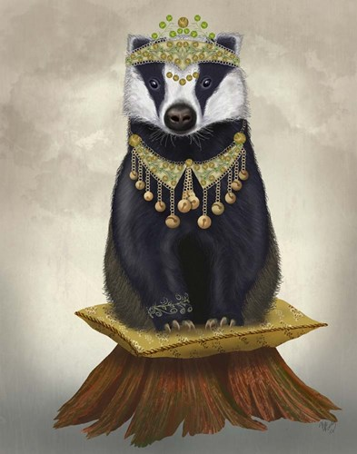Badger with Tiara, Full Poster by Fab Funky for $33.75 CAD