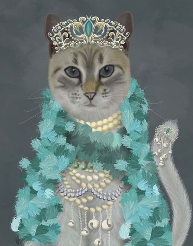 Grey Cat With Bells, Portrait Poster by Fab Funky for $33.75 CAD