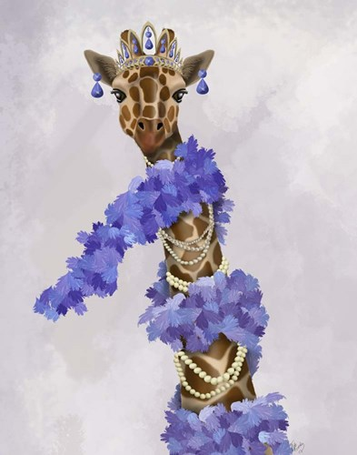 Giraffe with Purple Boa Poster by Fab Funky for $33.75 CAD