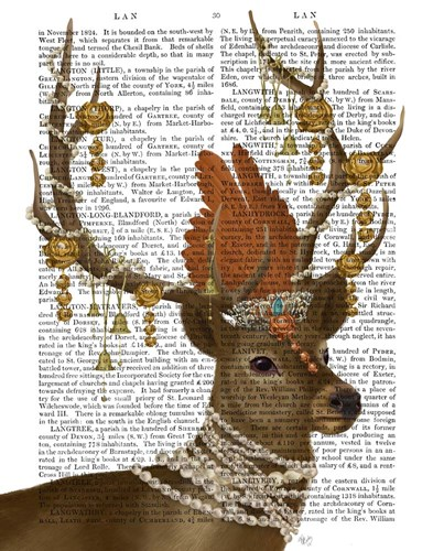 Deer with Gold Bells Poster by Fab Funky for $33.75 CAD