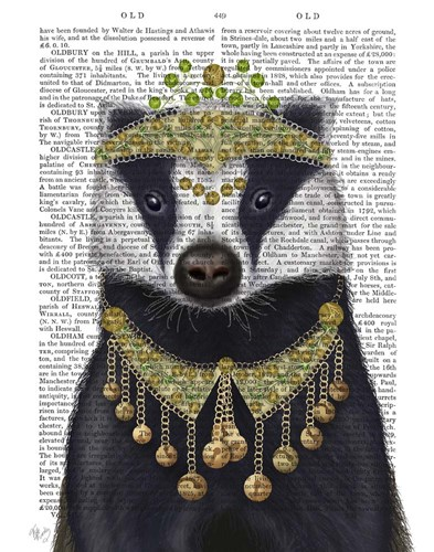 Badger with Tiara, Portrait Poster by Fab Funky for $33.75 CAD