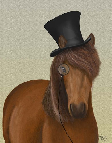 Horse Top Hat and Monocle Poster by Fab Funky for $33.75 CAD