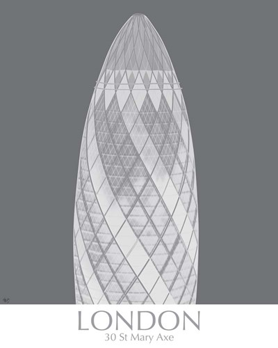 London Gerkin Monochrome Poster by Fab Funky for $53.75 CAD