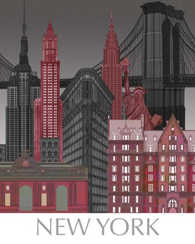 New York Elevations by Night Red Poster by Fab Funky for $53.75 CAD