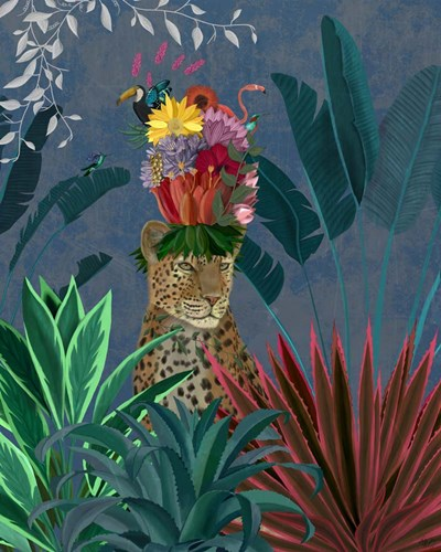 Leopard with Headdress Poster by Fab Funky for $53.75 CAD