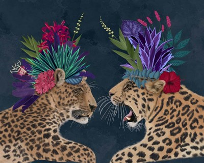 Hot House Leopards, Pair, Dark Poster by Fab Funky for $53.75 CAD