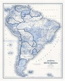 South America in Shades of Blue