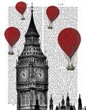 Big Ben and Red Hot Air Balloons