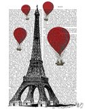 Eiffel Tower and Red Hot Air Balloons