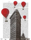 Flat Iron Building and Red Hot Air Balloons