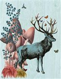 Turquoise Deer in Mushroom Forest