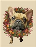 French Bulldog, Cranberry Wreath
