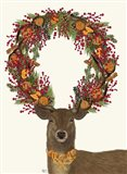 Deer, Cranberry and Orange Wreath, Full