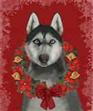 Husky and Poinsettia Wreath