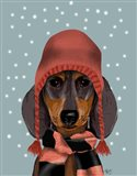 Dachshund With Woolly Hat & Scarf