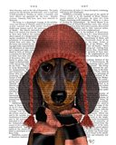 Dachshund in Pink Hat and Scarf
