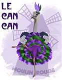 Ostrich, Can Can in Purple and Green