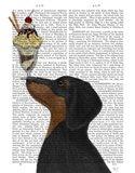Dachshund, Black and Tan, Ice Cream