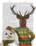 Deer in Christmas Sweater with Snowman