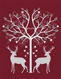 Christmas Des - Deer and Heart Tree, Grey on Red