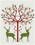 Christmas Des - Deer and Heart Tree, On Cream
