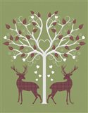 Christmas Des - Deer and Heart Tree, Pink On Green