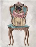 Pug Princess on Chair