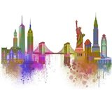 New York Skyline Rainbow Bright