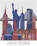New York Landmarks , Red Blue