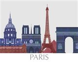 Paris Landmarks , Red Blue