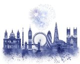 London Skyline Watercolour Splash Blue