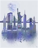 New York Skyline Watercolour Splash Blue