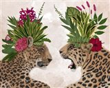 Hot House Leopards, Pair, Pink Green