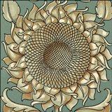 Sunflower Woodblock I
