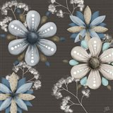 Blue Floral on Sepia I