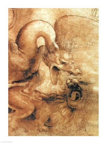 Detail of the Dragon from the drawing Fight between a Dragon and a Lion Poster by Leonardo Da Vinci for $32.50 CAD