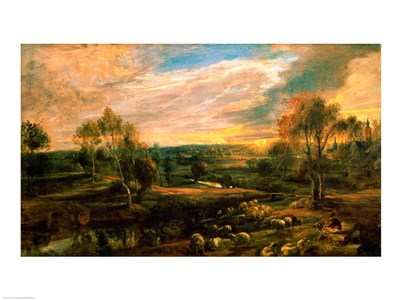 A Landscape with a Shepherd and his Flock Poster by Peter Paul Rubens for $32.50 CAD