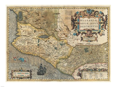1606 Hondius and Mercator Map of Mexico Poster by Unknown for $67.50 CAD