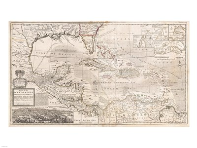 1732 Herman Moll Map of the West Indies, Florida, Mexico, and the Caribbean Poster by Unknown for $67.50 CAD