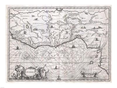 1670 Ogilby Map of West Africa Poster by Unknown for $67.50 CAD