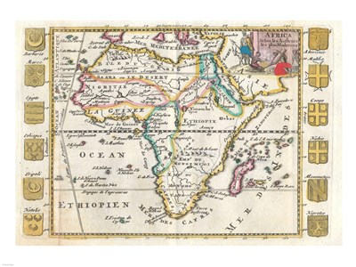 1710 De La Feuille Map of Africa Poster by Unknown for $67.50 CAD