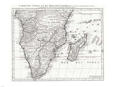 1730 Covens and Mortier Map of Southern Africa Poster by Unknown for $67.50 CAD