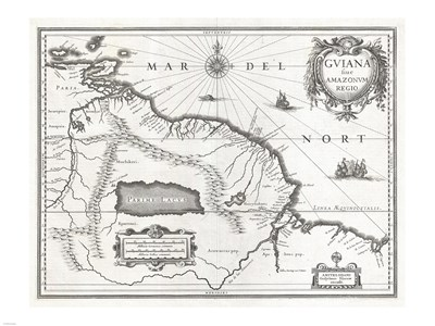 1635 Blaeu Map Guiana, Venezuela, and El Dorado Poster by Unknown for $67.50 CAD