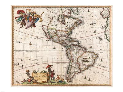 1658 Visscher Map of North America and South America 1658 Poster by Unknown for $67.50 CAD