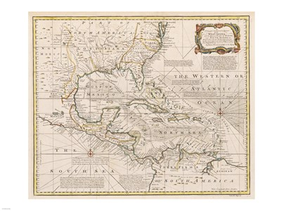 1720 Map of the West Indies with the Adjacent Coasts of North and South America Poster by Unknown for $67.50 CAD